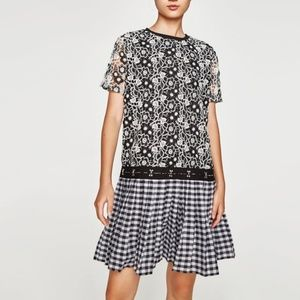 ZARA TRF Checked Crochet Lace Pleated Dress S NWT